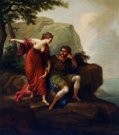 Dido and Aeneas (or, possibly, Venus, as a Huntress, guiding Aeneas to Dido)