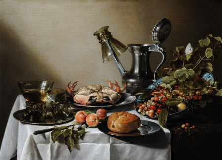 Still Life of Food, a Jug and Glasses on a Table