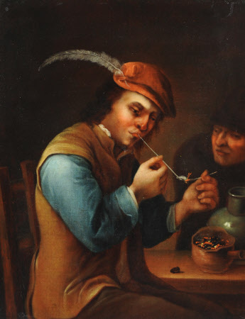 A Young Peasant lighting his Pipe