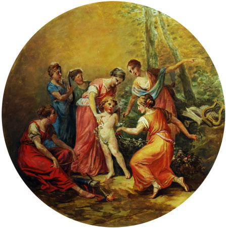 Nymphs garlanding Cupid