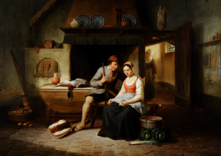 Cottage Interior with Figures