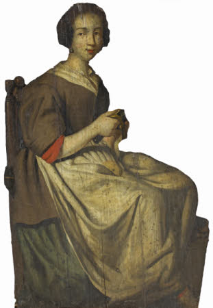 A Dummy Board Figure of a Servant Woman peeling an Apple
