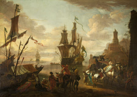 A Harbour Scene with Oriental Figures