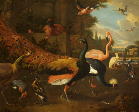 A Peacock and Peahen with a Crane, Flamingo, Pelican, and other Fowl, in a Park
