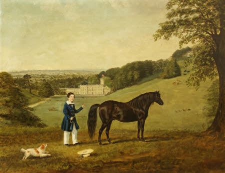 A Child with his Pony and Dog at Dyrham Park