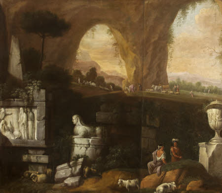 Classical Scene with Sphinx and Ruined Monuments