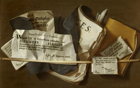 Vanitas Trompe-l'oeil Letter-rack, with Death Notices