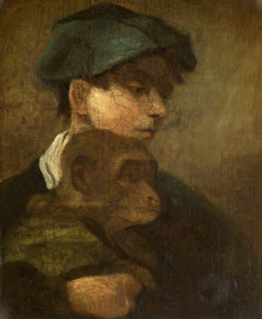 Boy in a Green Cap holding a Monkey