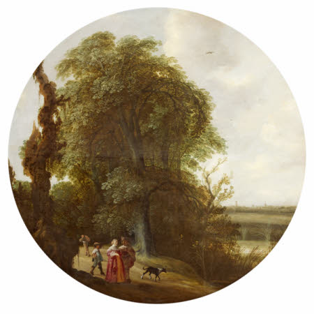 Landscape with Figures walking along a Country Path, a Distant View of Delft beyond