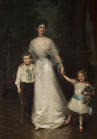 Elizabeth Louisa Penelope Theobald, Countess of Stamford (d.1959) and her two children, Roger Grey, ...