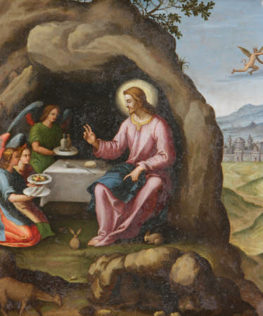 Christ succoured by Angels in the Wilderness after the Temptation