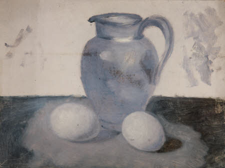 Still Life of a Jug and Eggs (from a Portfolio of oil sketches)