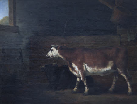 Interior of a Byre with Two Cows