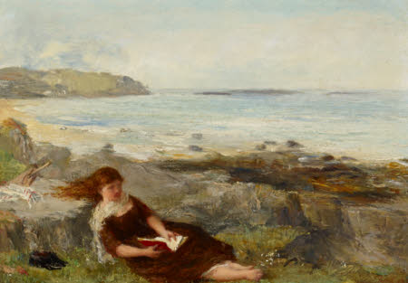 Girl reading by the Shore