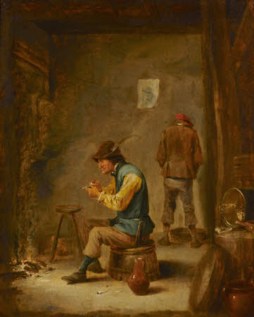 A Peasant filling his Pipe