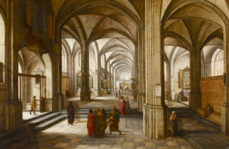 An Imaginary Church or Cathedral Interior, with possibly a Biblical  Scene
