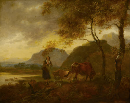 Landscape wth Milkmaid and Cattle in the foreground