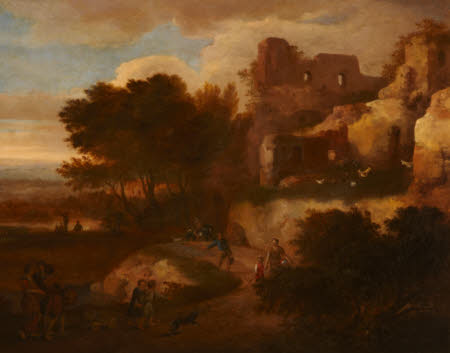 Landscape of Peasants and a Dog amongst Roman Ruins