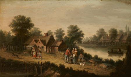 A River Landscape with Figures in a Boat and Others in the foreground