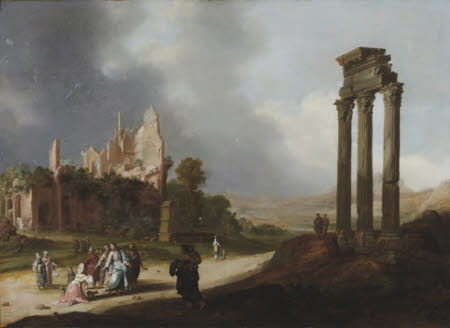 Classical Ruins with Christ and the Woman of Samaria