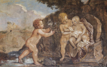 Two Putti offering a Baby a Bunch of Grapes