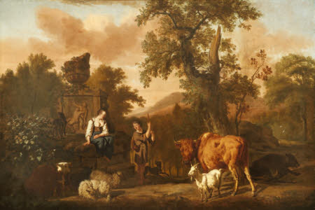 A Landscape with an Antique Tomb with a Ruined Urn, a Herdsboy and Shepherd Girl, Cattle, Sheep, ...
