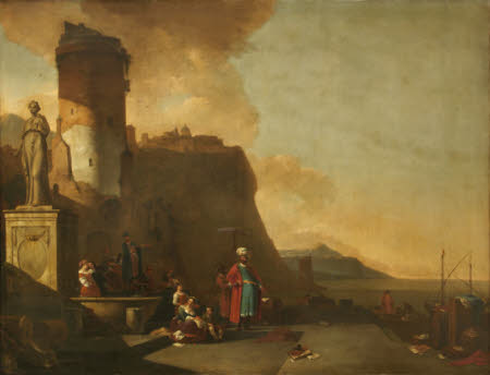 Capriccio of a Seaport with Orientals and an Antique Statue
