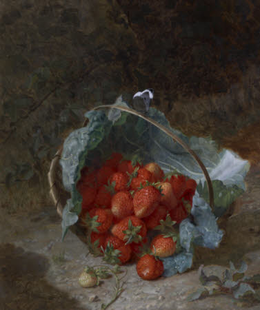 Still Life with Strawberries in a Cabbage Leaf in a Basket on the Ground