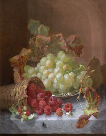 Still Life of Grapes on a Salver, with Raspberries spilling from a Basket on a Ledge and an ...