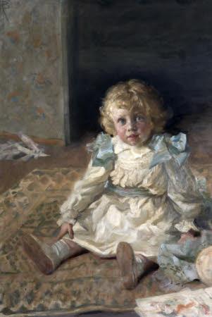 Jack Watts (b. 1903), as a boy seated on a rug