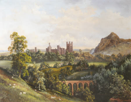 Penrhyn Castle from the South West with the Ogwen Viaduct