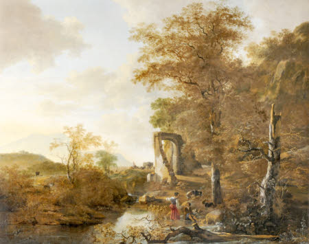 Landscape with Arched Gateway (Landscape with a Stone Gateway and Pond)