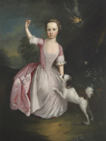 An Unknown Young Girl in Pink with a Dog