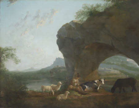 Italianate Landscape with a Herdsman and Three Sheep and Two Cows under a Rock Arch