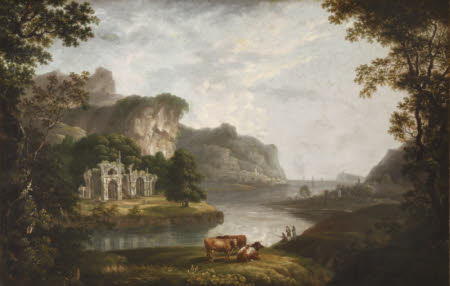 Wooded River Landscape with Drovers and Cattle beside a Ruined Castle