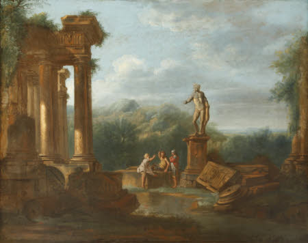 A Capriccio Landscape with Soldiers conversing beneath Classical Ruins