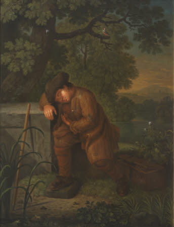 A Poacher asleep in a Landscape