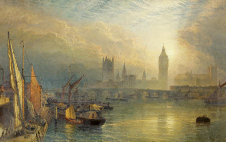 The New Houses of Parliament and the Thames (Sunset on the Thames near Westminster with the New ...