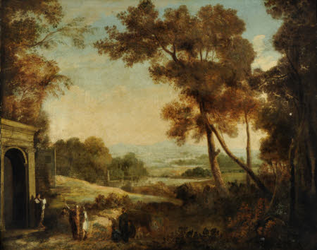 Classical Landscape with, possibly Saint Paul, Preaching