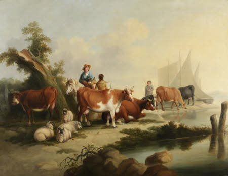 River Landscape with People, Animals and Boats