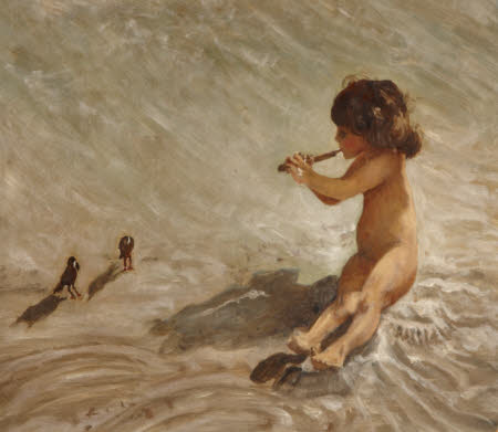Nancy MacLennan, later Countess of Enniskillen (1917 - 1998), as a child, on a  Connecticut Beach