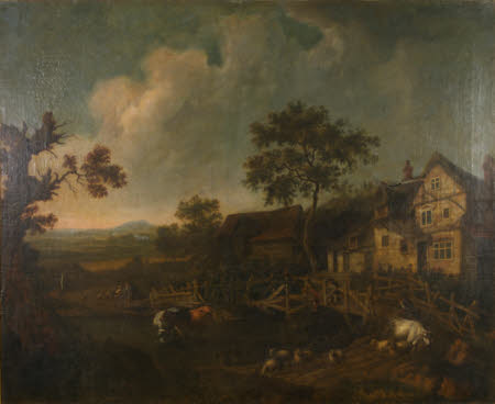 Landscape with a Cottage and a Wooden Bridge