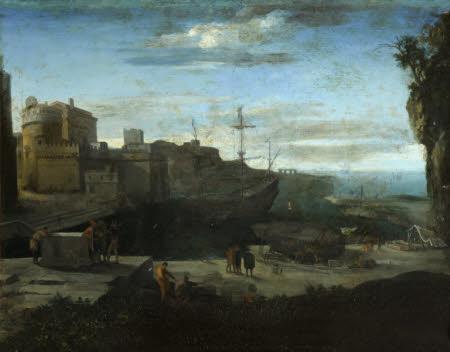 A Sea Port in Moonlight