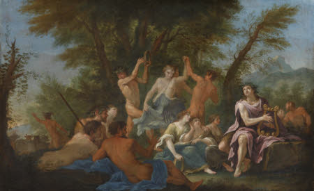 Apollo with Nymphs and Satyrs and Mercury stealing the Cattle of Admetus