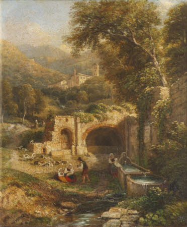 Washerwoman at a Tank with a Distant View of Tivoli