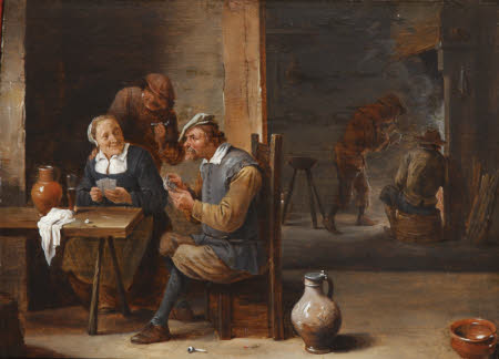 Boors playing Cards in a Tavern Interior