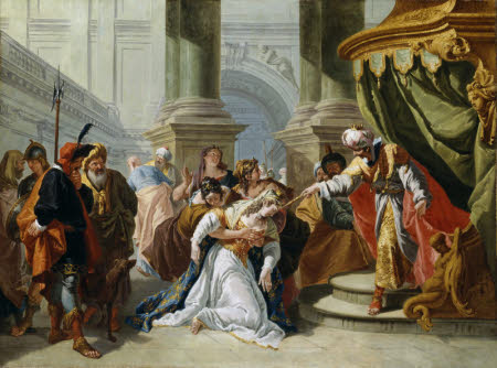 Esther fainting before King Ahasuerus