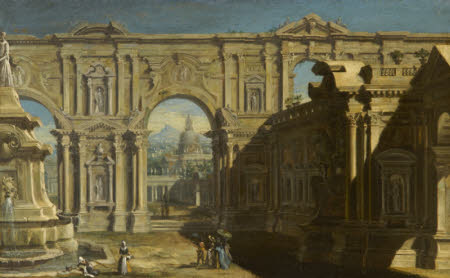 Architectural Capriccio with Figures and two Washerwomen near a Fountain and St Peter's, Rome ...