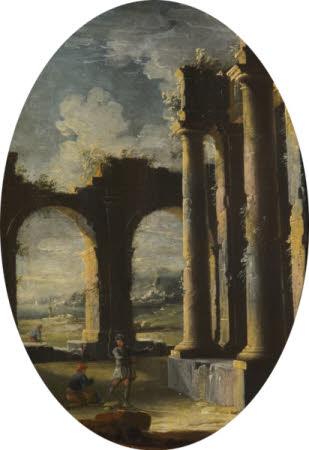 Italian Capriccio of Classical Ruins with Beggars