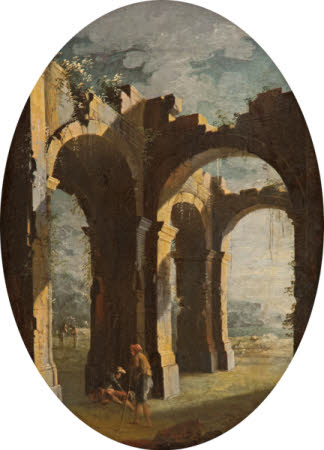 Italian Capriccio of Classical Ruins with Labourers